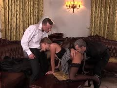 Hot threesome at the office with two men