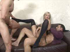 Blonde is enjoying an anal stretching threesome