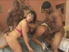 Horny foursome with dark guys